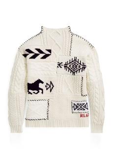 Ralph Lauren Patchwork Mockneck Sweater
