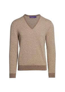 Ralph Lauren Pattern V-Neck Cashmere Sweater