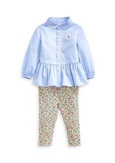 Ralph Lauren Peplum Oxford Shirt w/ Floral Leggings  Size 6-24 Months