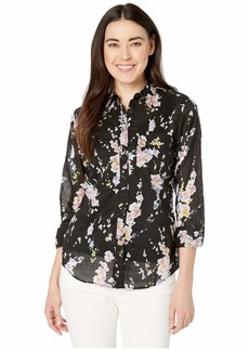 Ralph Lauren Petite 3/4 Sleeve Floral-Print Cotton Shirt