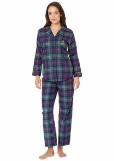Ralph Lauren Petite Brushed Twill Long Sleeve Classic Notch Collar Pajama Set