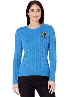 Ralph Lauren Petite Button Trim Cable Knit Sweater