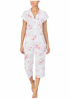 Ralph Lauren Petite Classic Knits Short Sleeve Dolman Notch Collar Capri Pants Pajama