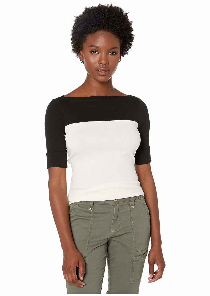 Ralph Lauren Petite Color Block Boat Neck Top