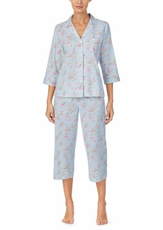 Ralph Lauren Petite Cotton Rayon Lawn Woven 3/4 Sleeve Pointed Notch Collar Capri Pajama Set
