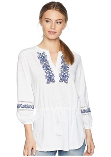 Ralph Lauren Petite Embroidered Cotton Top