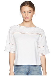 Ralph Lauren Petite Eyelet Cotton-Blend T-Shirt