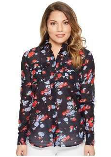 Ralph Lauren Petite Floral Crinkled Cotton Shirt