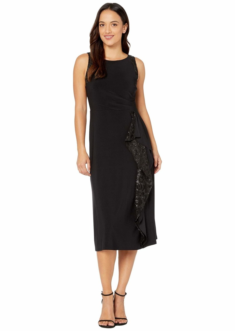 Ralph Lauren Petite Lace-Trim Jersey Dress