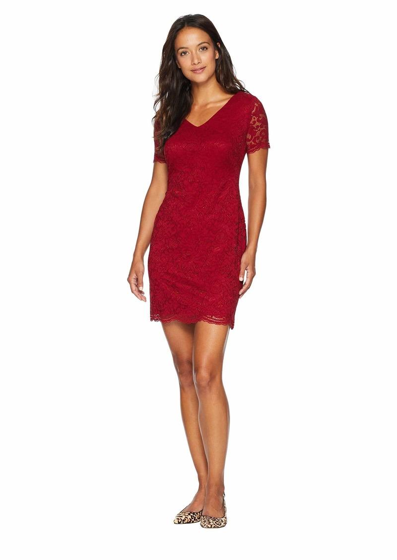 Ralph Lauren Petite Panel Lace Gordy Short Sleeve Day Dress