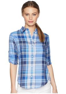 Ralph Lauren Petite Plaid Cotton Twill Shirt