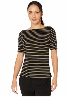 Ralph Lauren Petite Stretch Cotton Boatneck Top