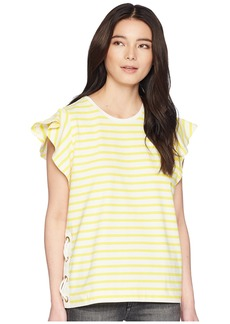 Ralph Lauren Petite Striped Cotton Flutter-Sleeve T-Shirt