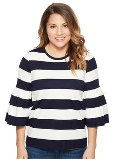Ralph Lauren Petite Striped Ponte Bell-Sleeve Top
