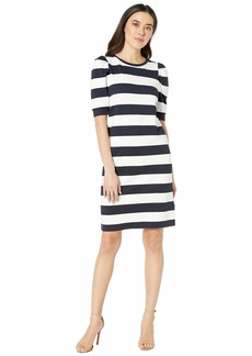 Ralph Lauren Petite Striped Puff-Sleeve Ponte Dress