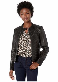 Ralph Lauren Petite Zip Front Diamond Quilt Leather Jacket
