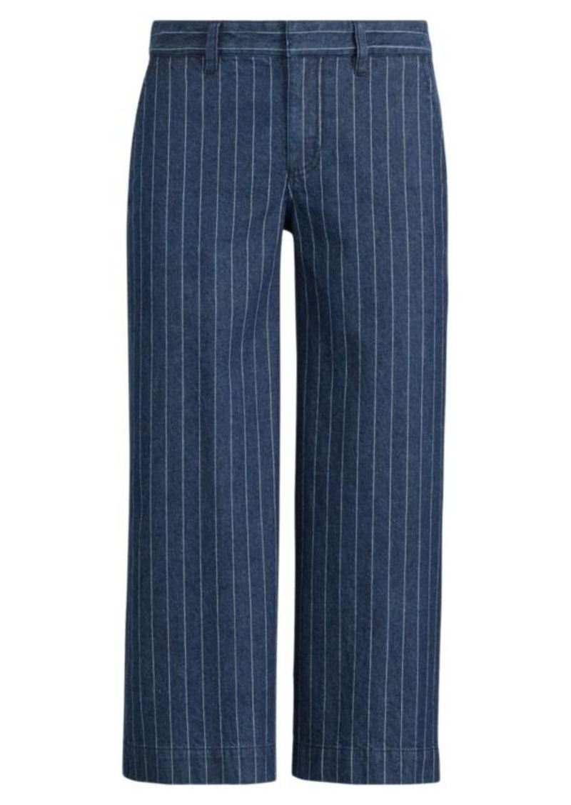 Ralph Lauren Pinstripe Denim Wide-Leg Pant