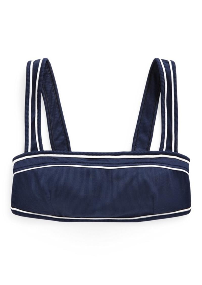 Ralph Lauren Piped-Trim Ribbed Bikini Top