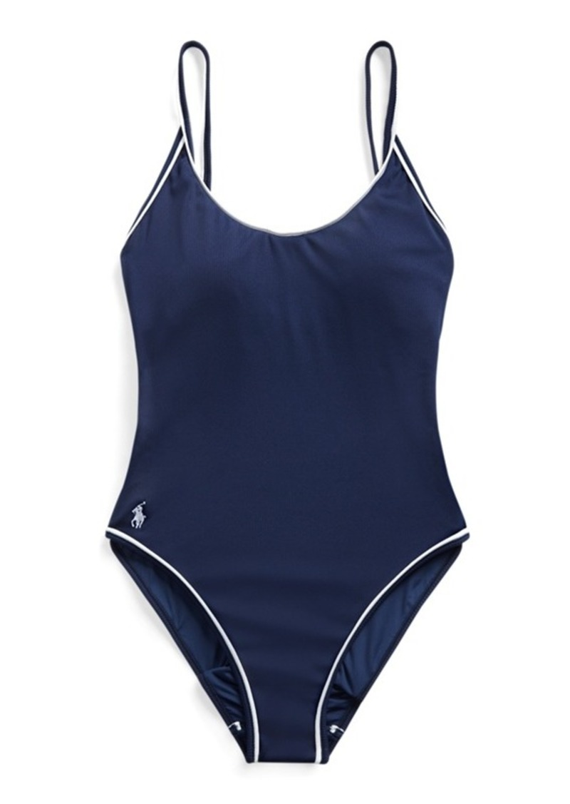 Ralph Lauren Piped-Trim Ribbed One-Piece