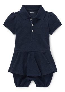 Ralph Lauren Pique Peplum Polo Shortall  Size 3-18 Months