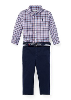 Ralph Lauren Plaid Button-Down Shirt w/ Woven Chinos