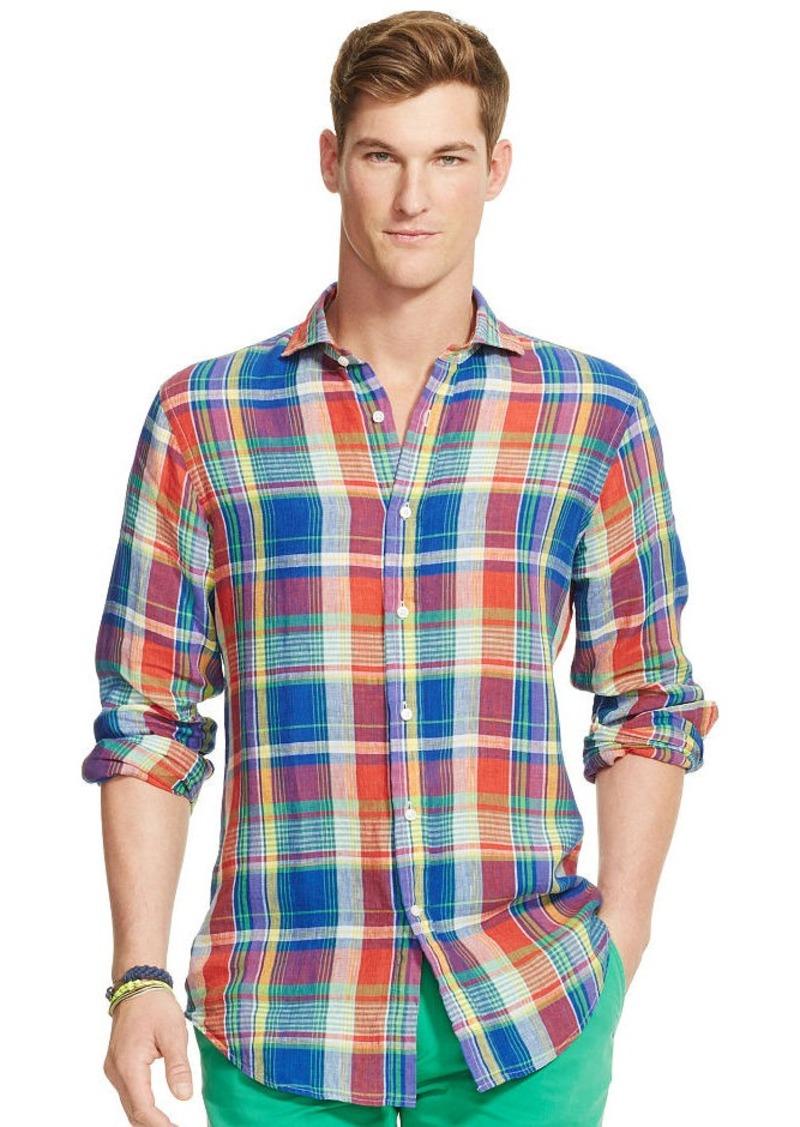 Ralph Lauren Plaid Linen Sport Shirt