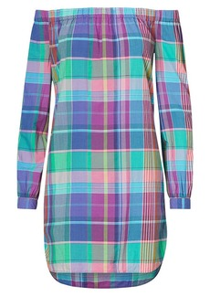 Ralph Lauren Plaid Off-the-Shoulder Dress