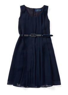 Ralph Lauren Pleated Belted Georgette Dress