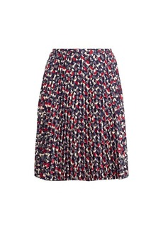 Pleated Crepe A-Line Skirt