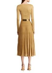 Ralph Lauren Pleated Crewneck Dress
