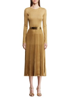 Ralph Lauren Pleated Crewneck Dress