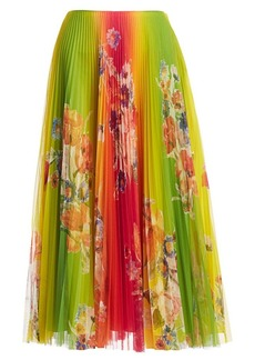 Ralph Lauren Pleated Floral Midi Skirt