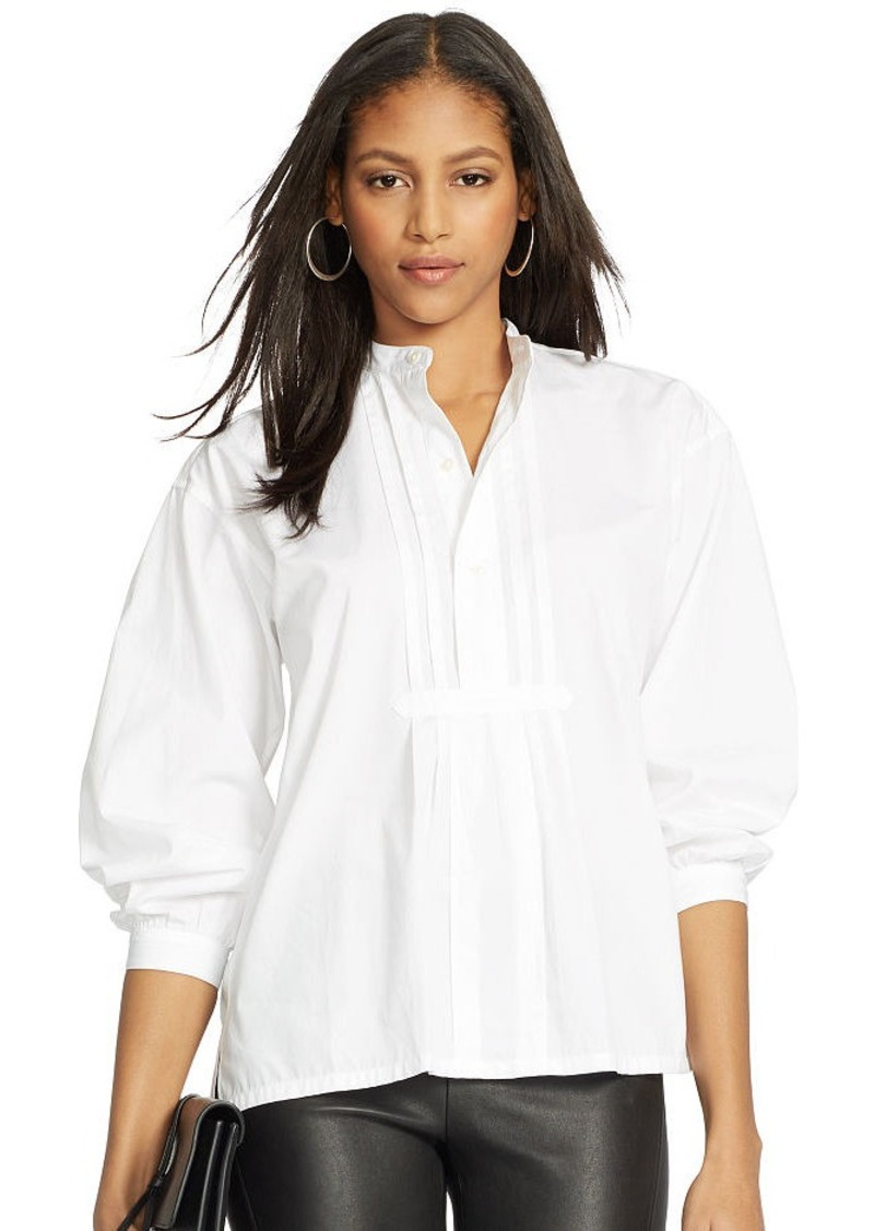 Ralph Lauren Pleated-Front Poplin Shirt