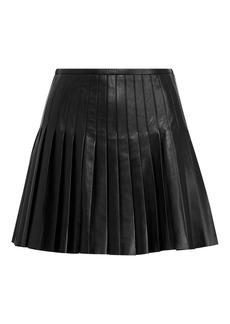 Ralph Lauren Pleated Lambskin Miniskirt