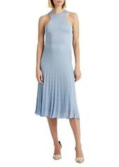 Ralph Lauren Pleated Pointelle Sweater Day Dress