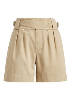 Pleated Twill High-Rise Short