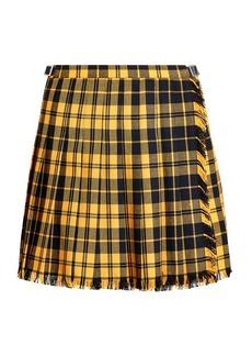 Ralph Lauren Pleated Wool-Blend Miniskirt