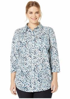 Ralph Lauren Plus Size 3/4 Sleeve Floral-Print Cotton Shirt