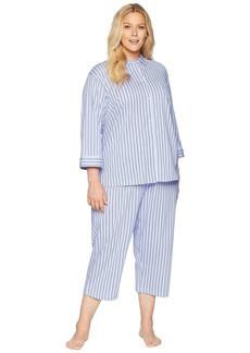 Ralph Lauren Plus Size 3/4 Sleeve Rounded Collar Capris Pajama Set