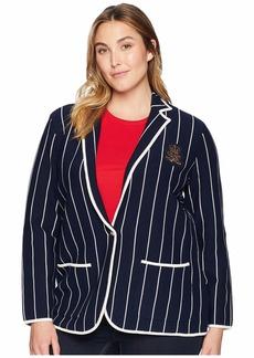 Ralph Lauren Plus Size Bullion-Patch Striped Blazer