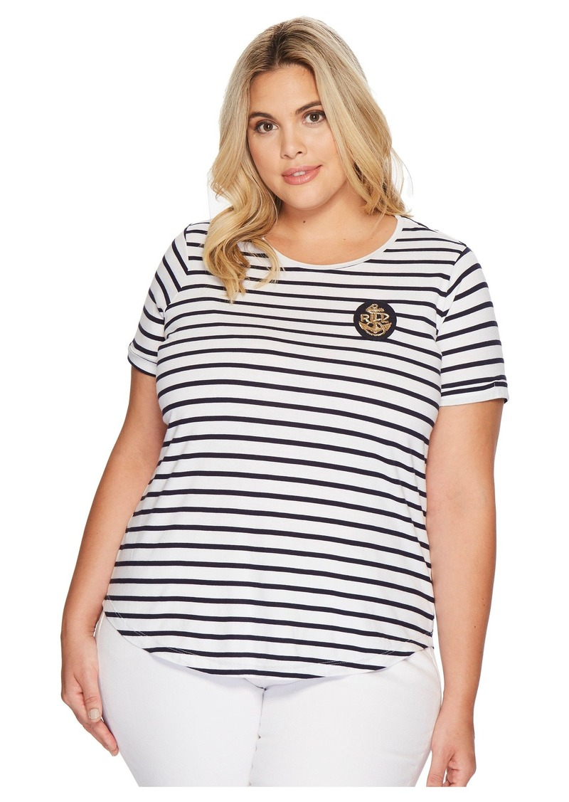 Ralph Lauren Plus Size Bullion-Patch Striped T-Shirt