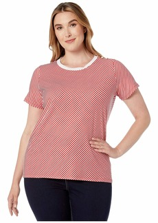 Ralph Lauren Plus Size Button Shoulder Striped Tee