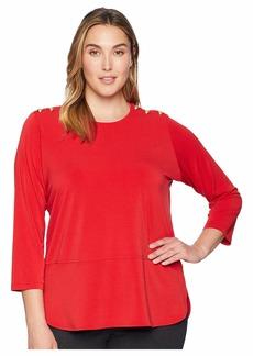 Ralph Lauren Plus Size Button-Trim Matte Jersey Top
