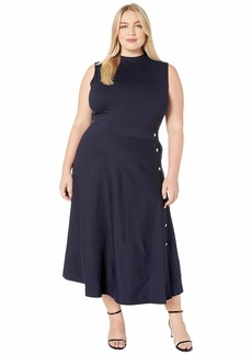 Ralph Lauren Plus Size Button-Trim Ponte Dress