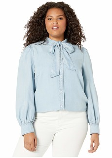 Ralph Lauren Plus Size Chambray Tie Neck Shirt