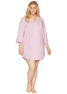Ralph Lauren Plus Size Classic Woven 3/4 Sleeve Pointed Notch Collar Sleepshirt