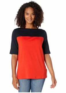 Ralph Lauren Plus Size Color Block Boat Neck Top