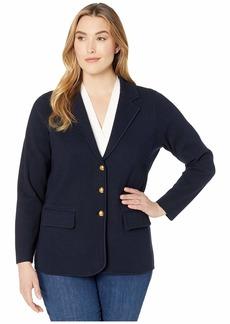 Ralph Lauren Plus Size Combed Cotton Nylon Long Sleeve Blazer