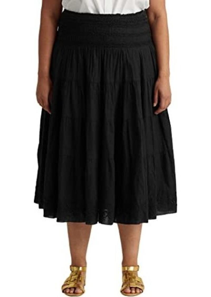Ralph Lauren Plus Size Cotton-Linen Voile Peasant Skirt