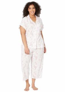 Ralph Lauren Plus Size Cotton Rayon Jersey Knit Notch Collar Dolman Capri Pajama Set